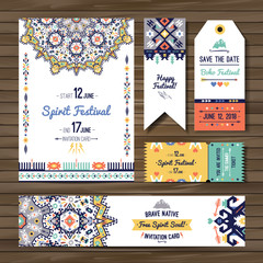 Collection of banners, flyers or invitations with geometric tribal elements. Flyer design in bohemian style