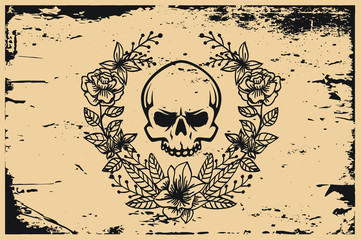Floral Horror Skull Poster