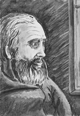 Portrait of a bearded man. A charcoal drawing