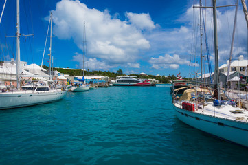 Yachts and sailboats docked in St George's harbor, Bermuda