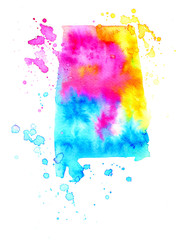 Map of Alabama. Colorful abstract watercolor texture stain with splashes and spatters. Modern creative watercolor background for trendy design.