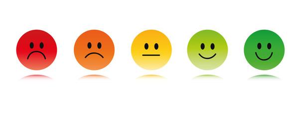fünf kleine runde bewertungs smileys