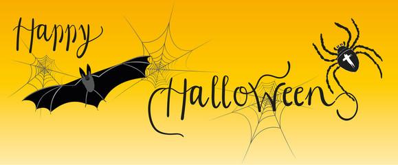 Happy Halloween - Süßes oder Saures, Kalligrafischer Schriftzug mit Gespenstern und großer Spinne, Spinnennetz, Fledermaus, Grusel, Horror, Feiertag