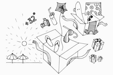 summer elements hand drawn line art illustration in vector