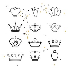 Set of beautiful crowns. Hand drawing vector illustration.