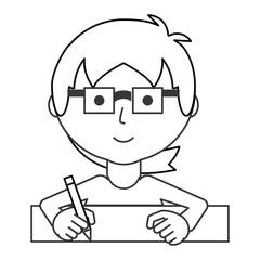 man writing  vector illustration