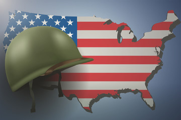 Military helmet on the background of the american flag with world category gumiabroncs Images