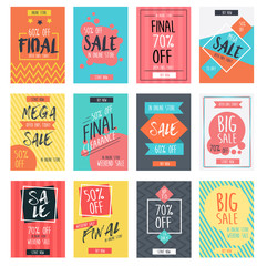 Set of modern sale banners template design with colorful summer background in a4 size. Vector illustration