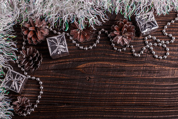 Christmas composition on a wooden rustic background