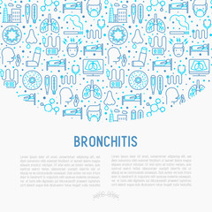 Bronchitis concept with thin line icons of symptoms and treatments: headache, alveolus, inhaler, nebulizer, stethoscope, thermometer, x-ray, bed rest. Vector illustration.
