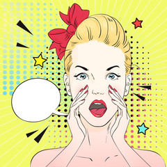 Pop art surprised woman face with open mouth in glasses loudly talks about something. Vector illustration.