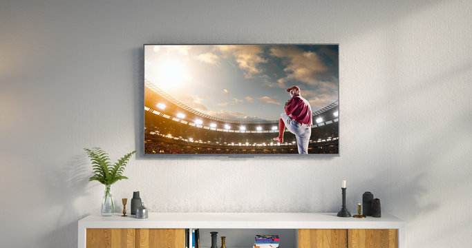Living room led tv showing baseball game