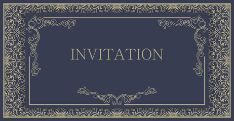 Vector seamless border with swirls and floral motifs in retro style. Element for design. It can be used for decorating of invitations, cards.