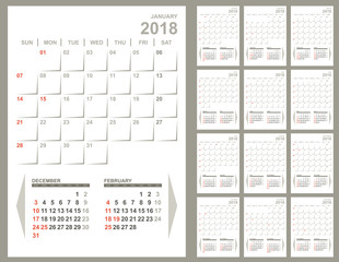 Monthly planner 2018 calendar template