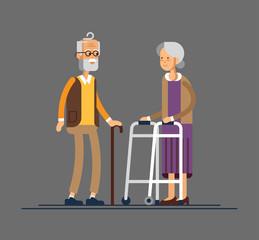 Retired elderly senior age couple in creative flat vector character design Grandpa and grandma standing full length smiling