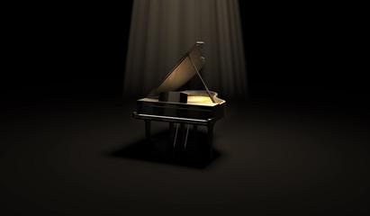 Black Glossy Piano in the Dark Scene