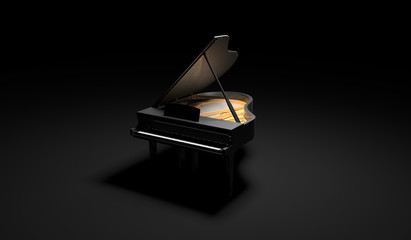 Black Glossy Piano in the Dark Scene