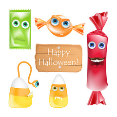 Halloween design with candies monsters. Set of halloween emoji sweets realistic vector. Cartoon character isolated on white background. Alive candy. Trick or treat. Cartoon realistic style.