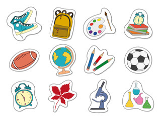 Cartoon stickers with school supplies on white background.