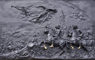 """The bas-relief """"battle of Poltava"""" on the monument to Peter the great at the Mikhailovsky castle in St. Petersburg"""