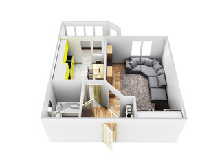 interior apartment roofless apartment layout 3d render without shadow