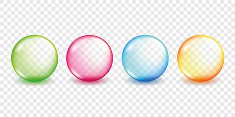 vier bunte bubbles transparenz