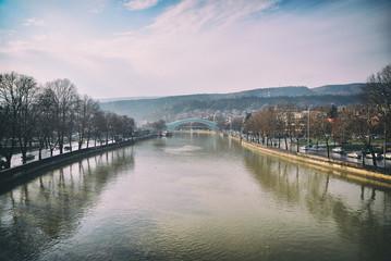 Peace Bridge on the River Kura in Tbilisi