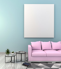 mock up poster frame in hipster interior modern living room background, 3D render
