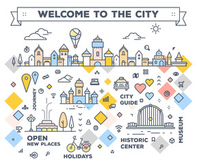 Vector illustration of city with navigation elements. Infographic route concept. City road map with tourist facilities and attractions.