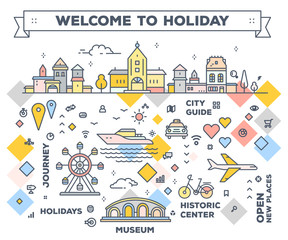 Vector bright illustration of city with tourist facilities and attractions on white background. Infographic route concept with navigation elements.