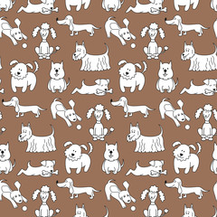 Seamless pattern with cartoon dogs on the brown background.