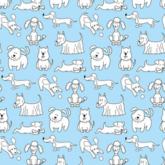 Seamless pattern with cartoon dogs on the blue background.