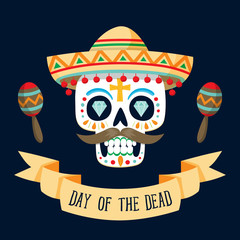 """Dia de los Muertos"" (day of the dead) card. English text."