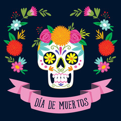 """Dia de los Muertos"" (day of the dead) card. Spanish text."