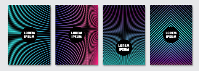 Cover design template. Vector minimal abstract background with gradient lines. Flyer, poster, brochure design. A4 size.