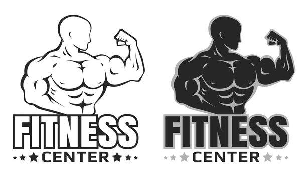 Vector set logos for bodybuilding.