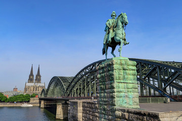 Wilhelm I. statue on Hohenzollern Bridge in Cologne, Germany.