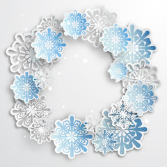 Paper snowflakes for winter background