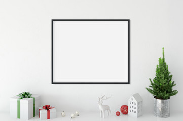 mock up posters in living room Christmas interior. Interior scandinavian style. 3d rendering, 3d illustration