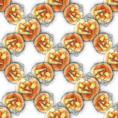 Watercolor illustration of seamless pattern with Halloween pumpkin.