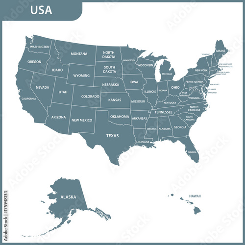 The detailed map of the USA with regions. United States of America on