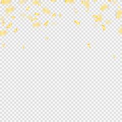 Golden confetti falls isolated. Vector illustration.