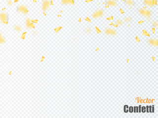 Golden confetti falls isolated. Vector illustration.