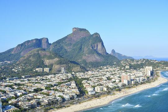 Aerial view of Barra da Tijuca and Gavea Stone, Rio de Janeiro