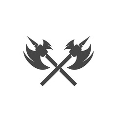 Crossed battle axes icon. Vector logo on white background