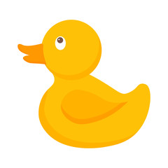 Pretty yellow baby duck. Kids toys vector illustration