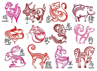 Chinese zodiac signs design set