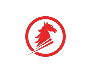 Horse head fast logo design template