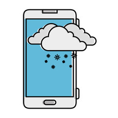 smartphone with snow cloud weather application