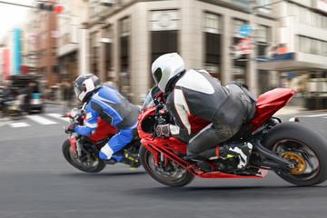 City Biker Gangs running a red light in downtown